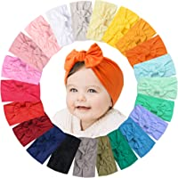 22 PCS Baby Headbands Soft Nylon Hairbands with Bows Girls Hair Accessories for Newborn Infant Toddler Kids Handmade