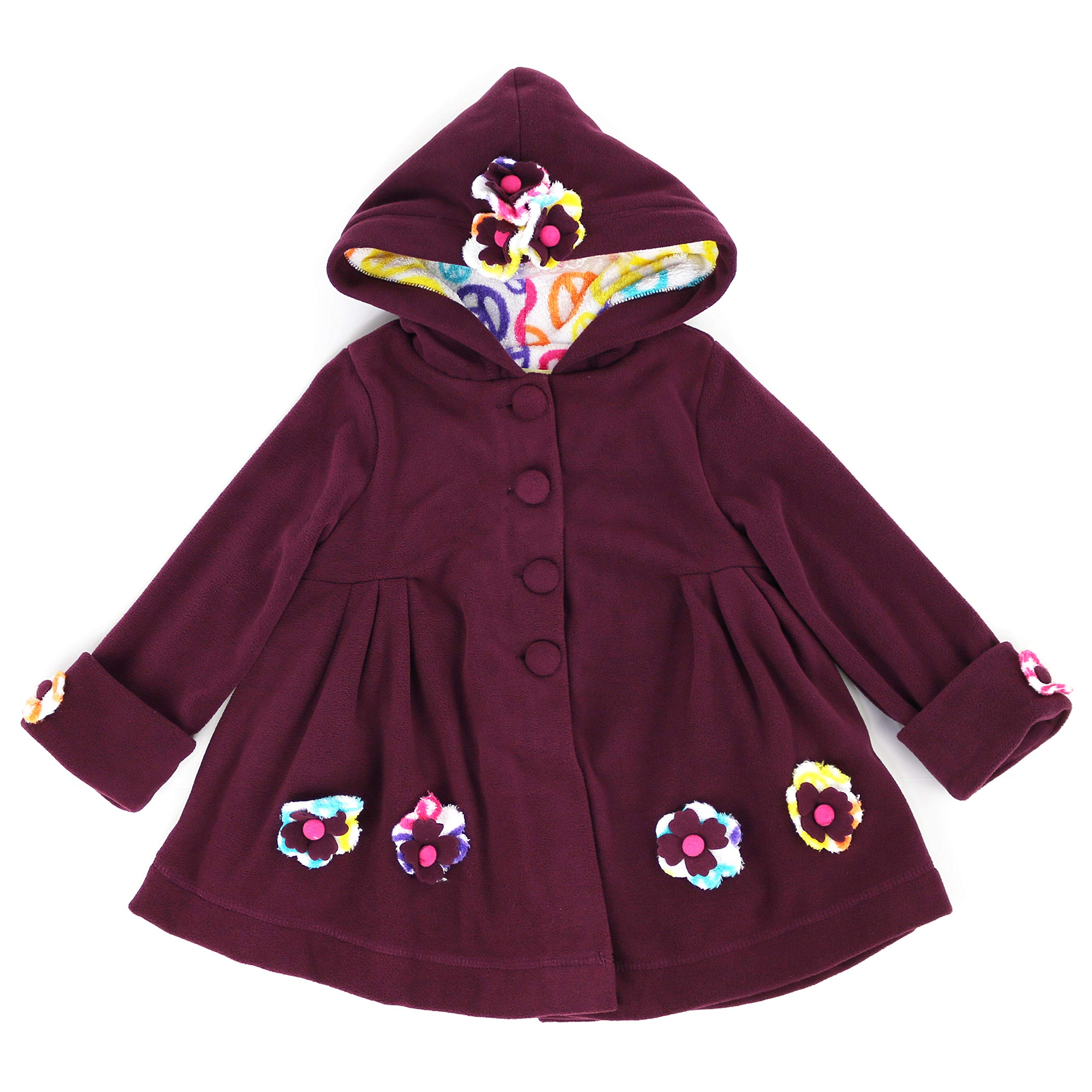 Maria Elena - Toddlers and Girls Carrie Peace and Love Fleece Jacket in Orchid 5