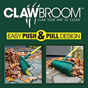 """Claw Broom - Easy Push and Pull Design for Raking and Sweeping Indoor Outdoor - Adjustable Handle 38"""" - 62"""" - Curve Claw bristles - Dust, Leaves, and Light Snow are Swept Away in a Jiffy"""