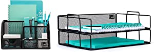 Mindspace Office Desk Organizer with 6 Compartments + 2 Tier Stackable Letter Tray | The Mesh Collection, Black