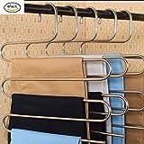 (6 Pezzi) Appendiabiti Multiplo Gruccia per Pantaloni Multipla in acciaio (6 Pezzi)