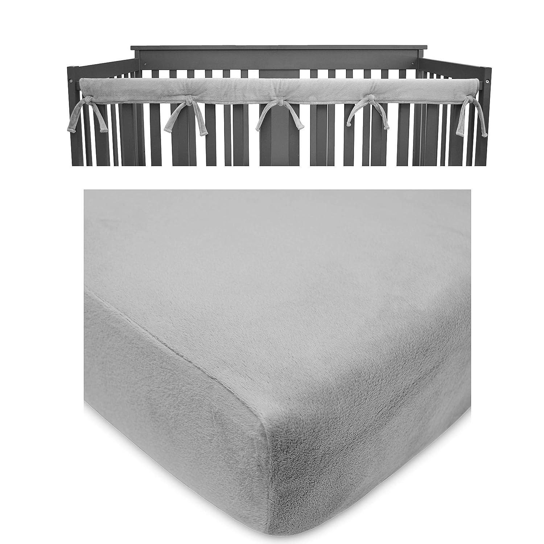 American Baby Company Heavenly Soft Crib Cover Plus Crib Sheet for Long Rail, Gray/White