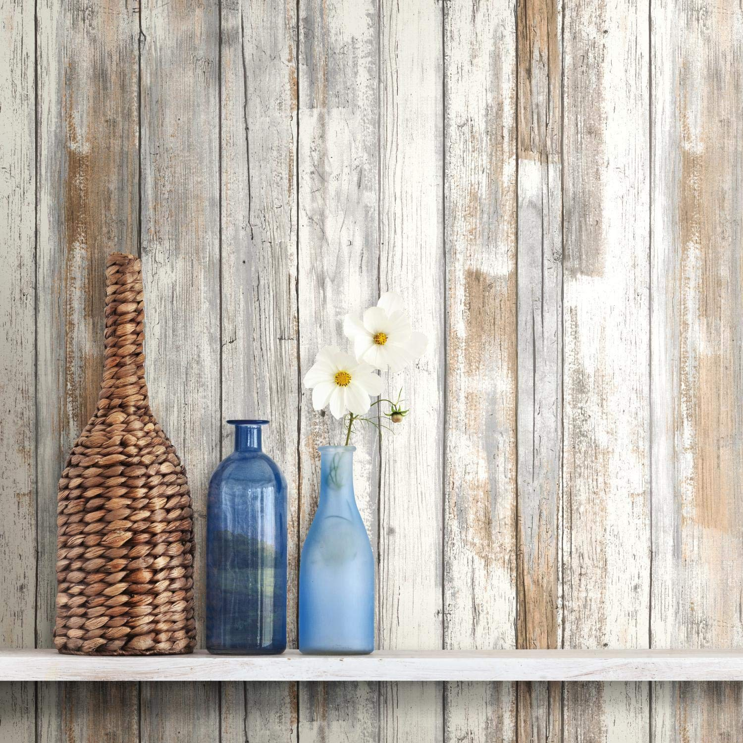 RoomMates Distressed Wood Peel and Stick Wallpaper ...