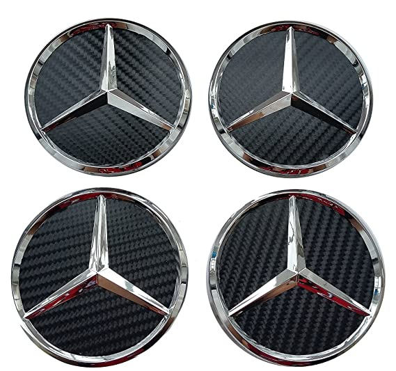 Conjunto de 4 Embellecedores de rueda de Mercedes modelo de 75mm Negro de fibra de carbono, Clase A B C E M ML GL CLK SLK: Amazon.es: Coche y moto