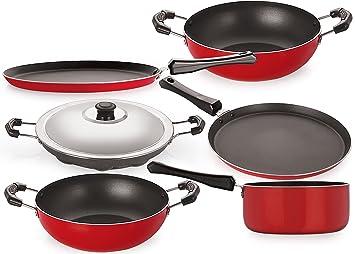 Nirlon Non-Stick Aluminium Cookware Set, 6-Pieces, Red/Black (FT12CTKD12KD14SPMAP) Pot & Pan Sets at amazon