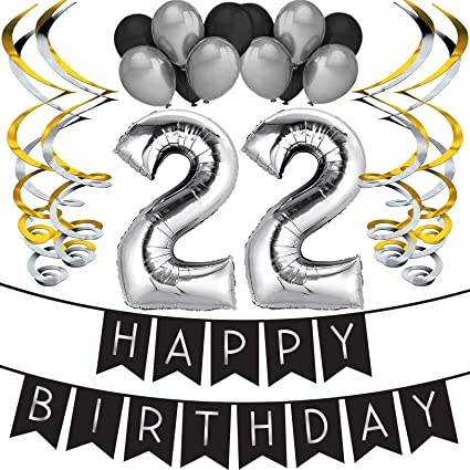 22nd Birthday Party Pack – Black & Silver Happy Birthday Bunting, Balloon, and Swirls Pack- Birthday Decorations – 22nd Birthday Party Supplies