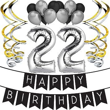 """Sterling James Co. Paquete para Fiesta de Cumpleaños Número 22 """"Happy Birthday""""- Paquete con Banderín de Feliz Cumpleaños Negro y Plateado, Globos y ..."""