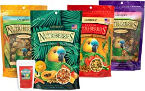 LAFEBER'S Gourmet Nutri-Berries Pet Bird Food Variety Sampler Bundles, Made with Non-GMO and Human-Grade Ingredients, for Parrots, 10 oz. Each