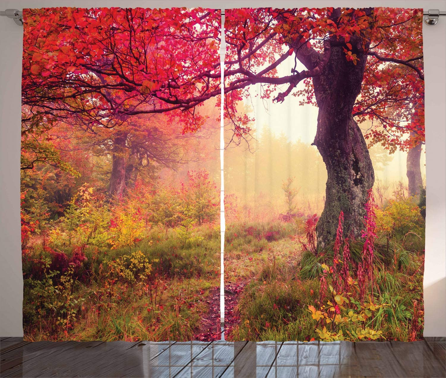Ambesonne Landscape Curtains, Majestic Landscape with Colorful Autumn Trees Foggy Forest Ukraine Image, Living Room Bedroom Window Drapes 2 Panel Set, 108