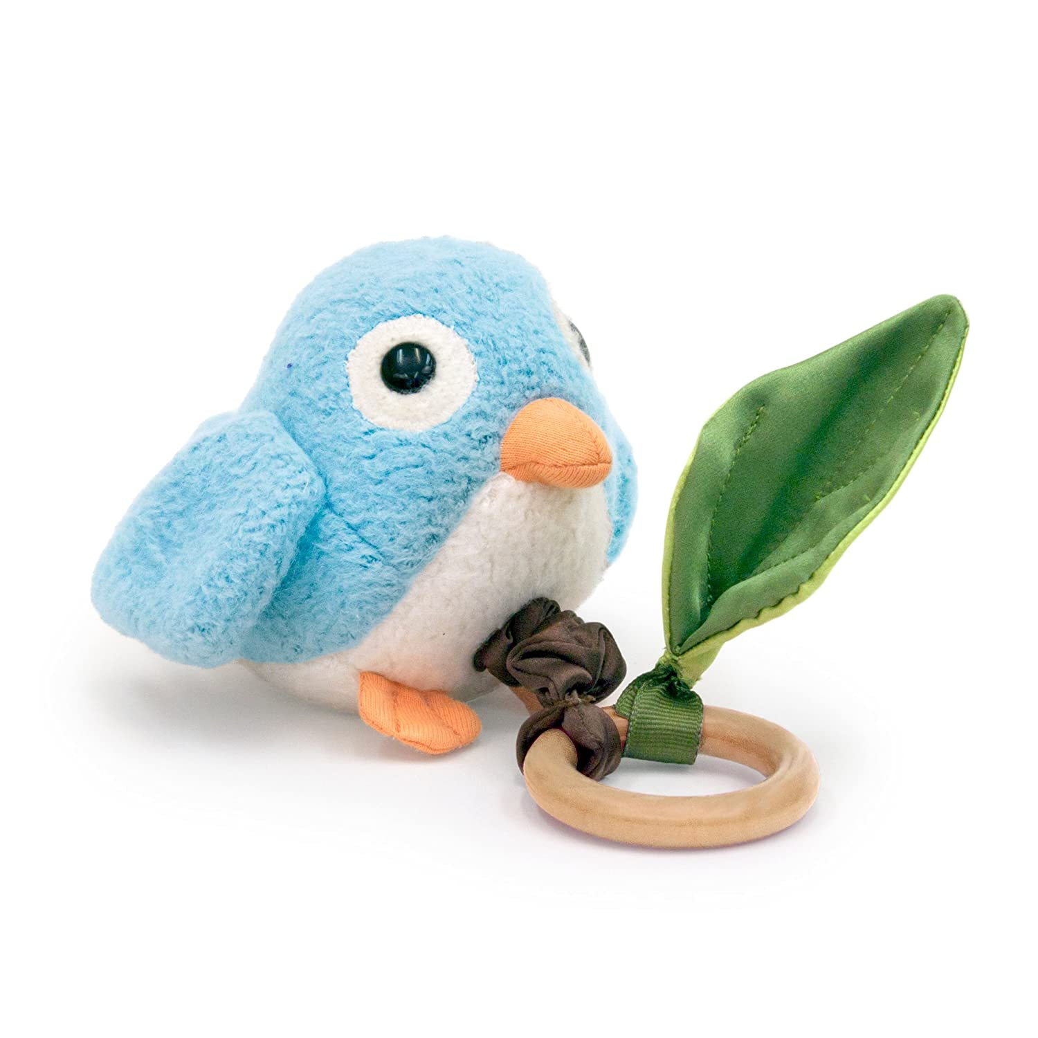 Apple Park Crawling Blue Birdie Teething Baby Toy - Hypoallergenic, 100% Organic Cotton, Bamboo Ring