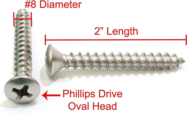 Flat Slot Drive #6 X 5//8 AISI 304 Stainless Steel 200 pcs 18-8 Wood Screws