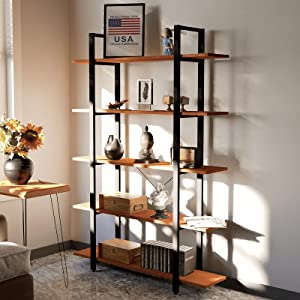 CONSDAN Solid Wood Bookshelf, Storage Shelves, Home Office Furniture, Open Bookshelf 4 Tier Or 5 Tier Bookcase(5 Tier)