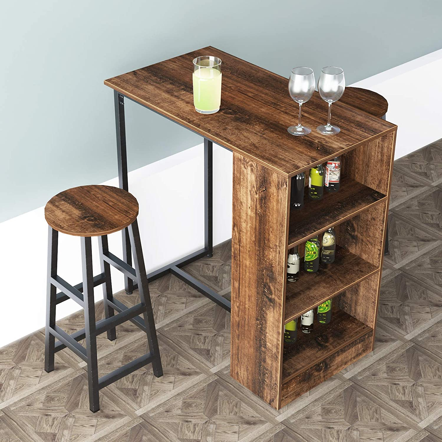 Soges 35 8 Inch Kitchen Counter Height Dining Table Set Bar Table With Storage Shelve Set Pub