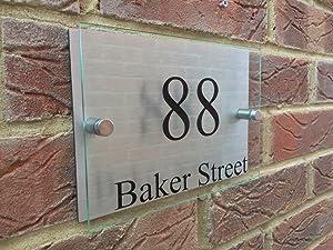 MODERN HOUSE SIGN PLAQUE DOOR NUMBER GLASS ACRYLIC ALUMINIUM STREET NAME