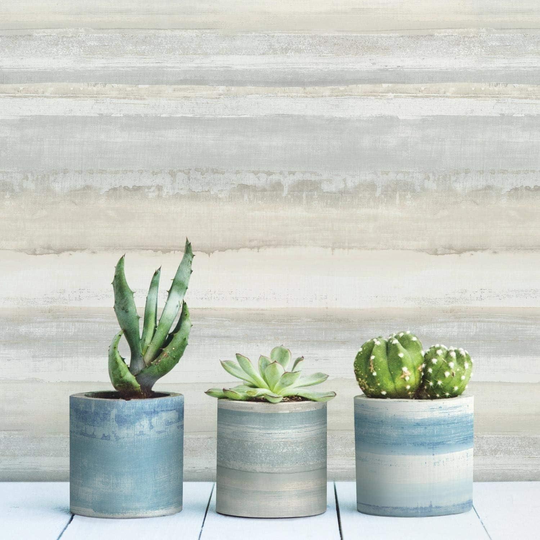 RoomMates Watercolor Stripe Peel and Stick Wallpaper,Tan