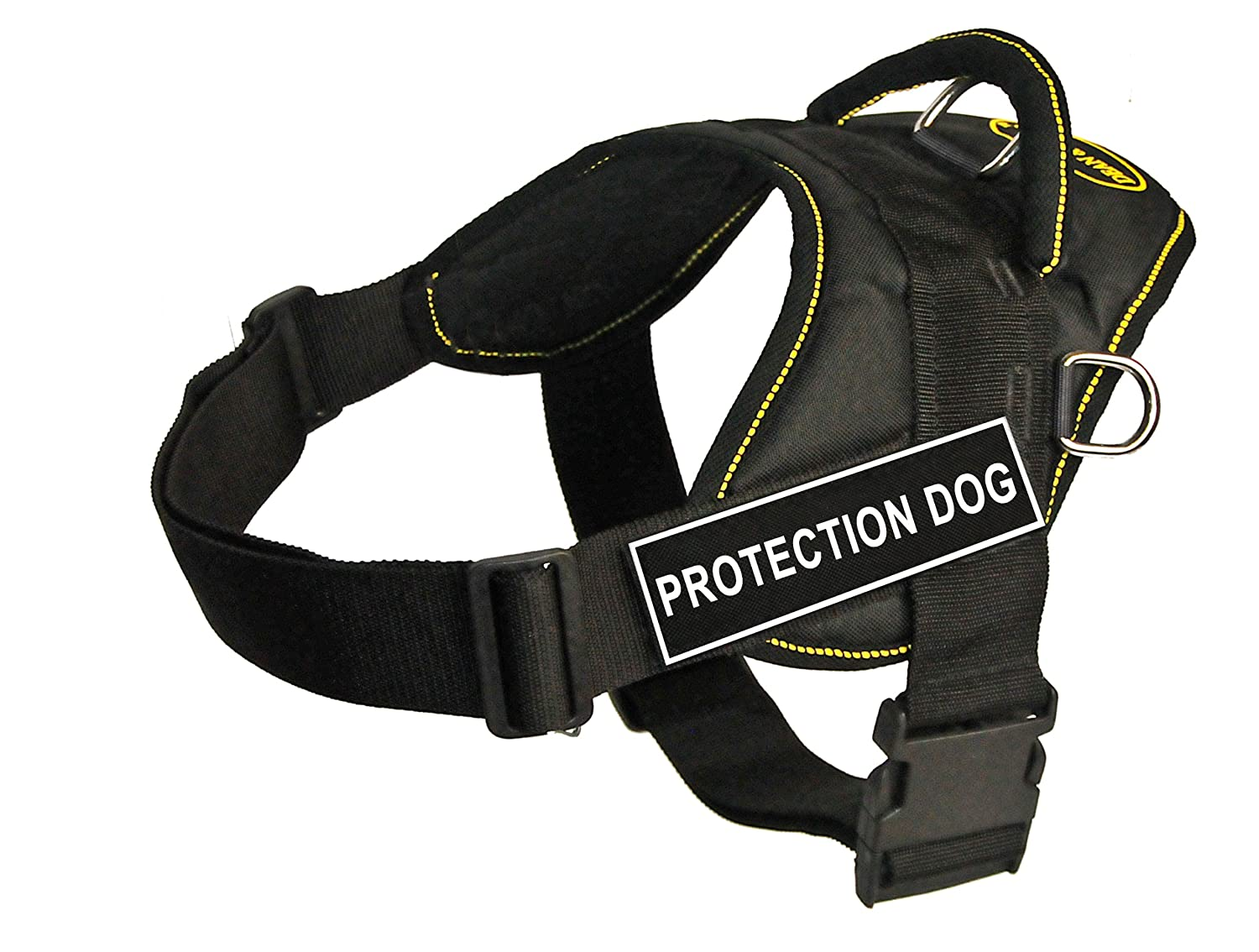 Dean & Tyler Fun Works 22-Inch to 27-Inch Pet Harness, Small, Predection Dog, Black with Yellow Trim