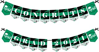 product image for Big Dot of Happiness Green Grad - Best is Yet to Come - Green Graduation Party Bunting Banner - Party Decorations - Congrats Grad 2021