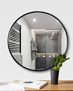 """TinyTimes 19.69"""" Clean Round Wall Mirror, Circle Wood Mirror, Matte Black Frame, Dresser Mirror, for Entryways, Living Rooms, Bathroom, Home Mirrors Decor Black"""