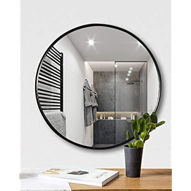 TinyTimes 19.69  Clean Round Wall Mirror, Circle Wood Mirror, Matte Black Frame, Dresser Mirror, for Entryways, Living Rooms, Bathroom, Home Mirrors Decor Black
