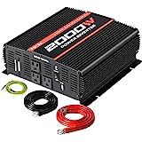 POTEK 2000W Power Inverter 3 AC Outlets 12V DC to 110V AC Car Inverter with 2A USB Port and Bluetooth