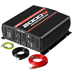 POTEK 2000W Power Inverter 3 AC Outlets 12V DC to 110V AC Car Inverter with 2A USB Port