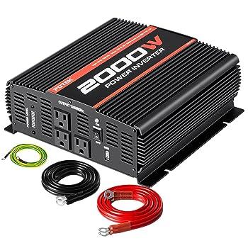 POTEK 2000W Power Inverter Three AC Outlets 12V DC to 110V