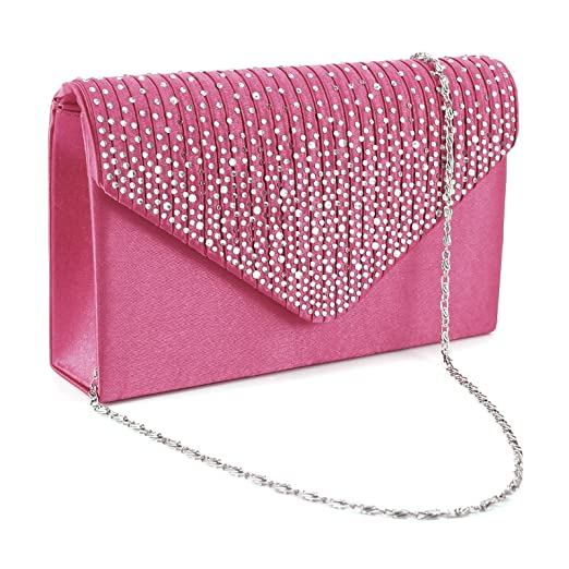 29e2b2bdb Ladies Evening Satin Bridal Diamante Womens Clutch Bag Party Prom Envelope (Hot  pink)