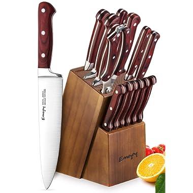 Knife Set, Kitchen Knife Set with Block Wooden, Manual Sharpening for Chef Knife Set, German Stainless Steel, Emojoy (15 Piece Knife Set)