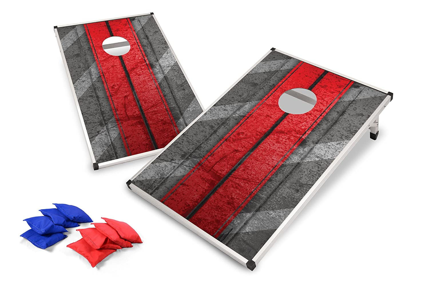 Backyard Champs Cornhole Set with MDF Board and Aluminum Frame 8 Bags Included New and Improved