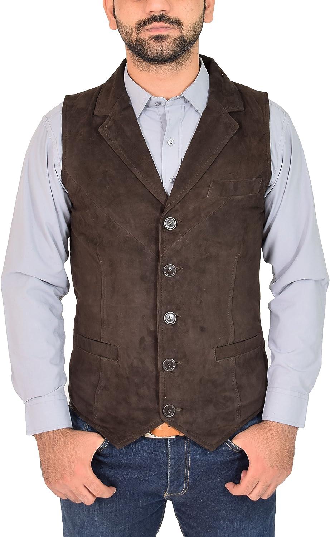 House Of Leather Uomo Vera Pelle Scamosciata Tradizionale Stile Classico Gilet Waistcoat Vest Don Marrone