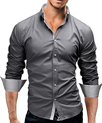 MERISH Camisas para Hombre de Manga Larga Camisas Bi-Color Moderno y Elegante Adecuado para la Oficina, Ocio y Otras Ocasiones Modell 03 Gris XXL: Amazon.es: Ropa y accesorios
