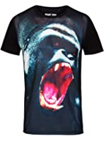 Mens Brave Soul T-Shirt Black Mesh Gorilla Tee Casual Top Short Sleeve Jersey