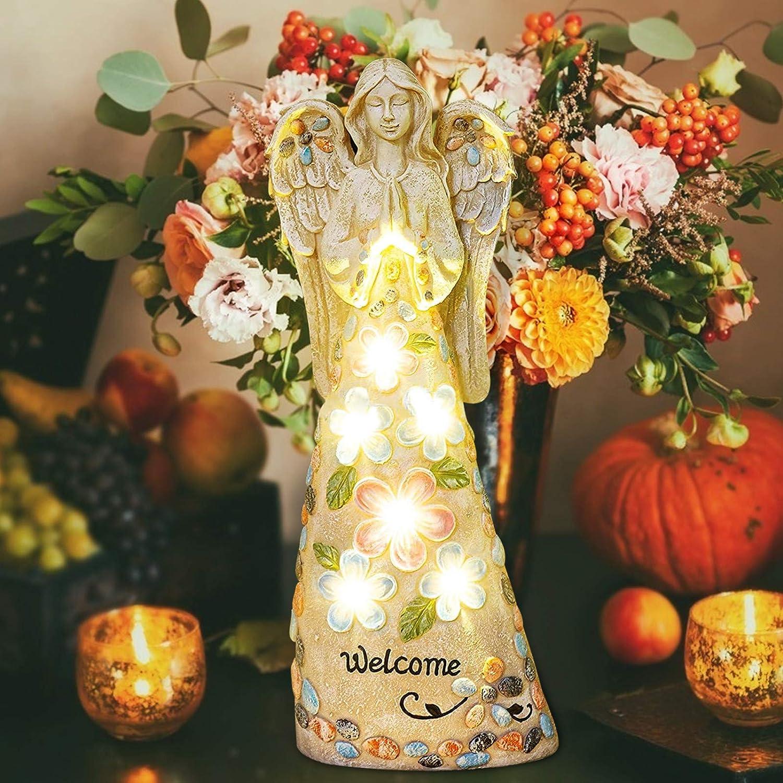 ZZJX Praying Angel Resin Statue Solar Light-Emitting Gnome Figurines LED Yard Art Decor Patio Desktop Yard Lawn Ornaments Religious Gift Magic Dwarf Housewarming Durable Indoor Outdoor (A)
