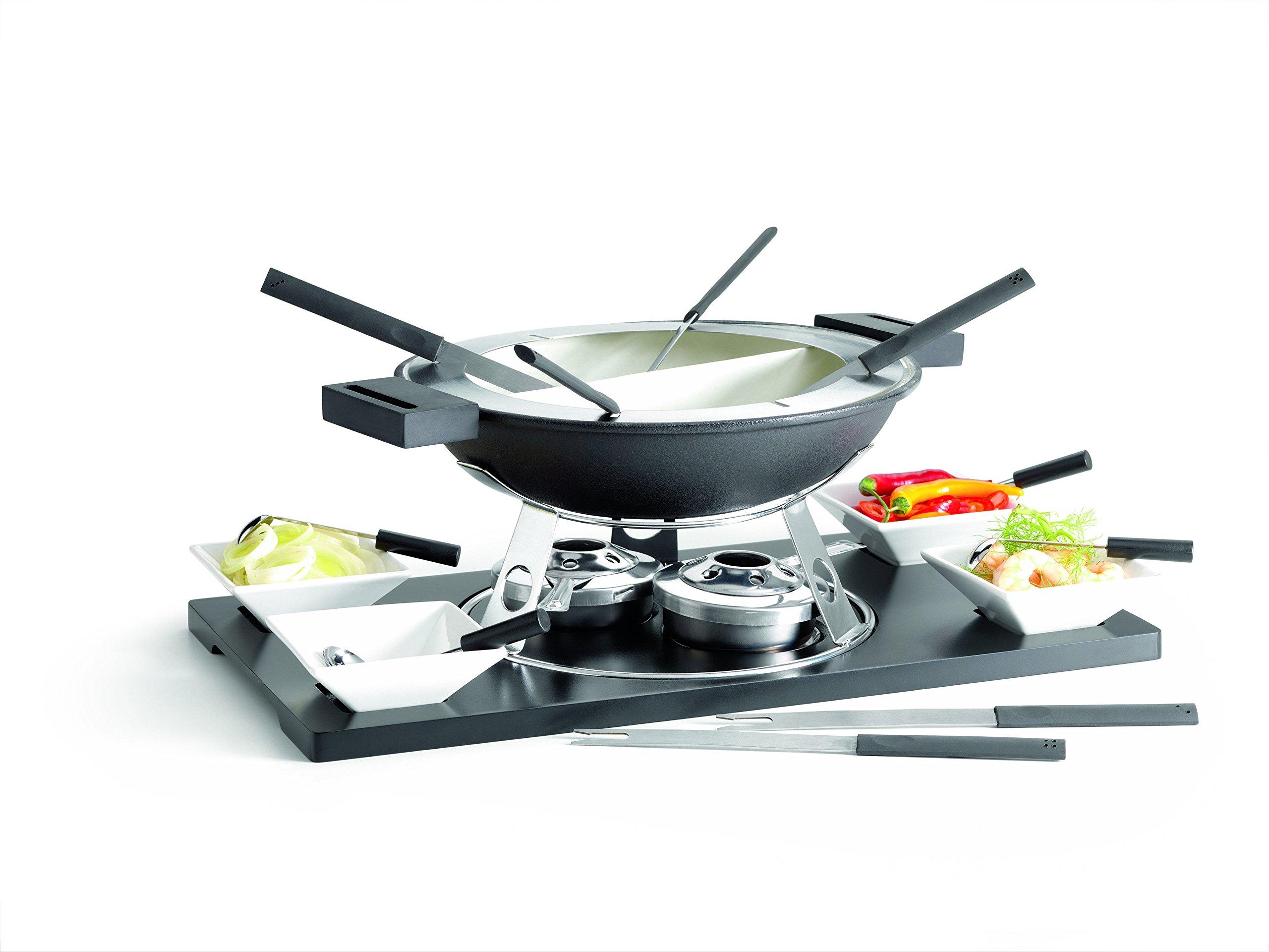 Domestic 20-Piece Fondue Set including 1-MDF Platter/ Rechaud/ Fondue Pot and Fork Holder/ 2-Burner, 4-Bowls...