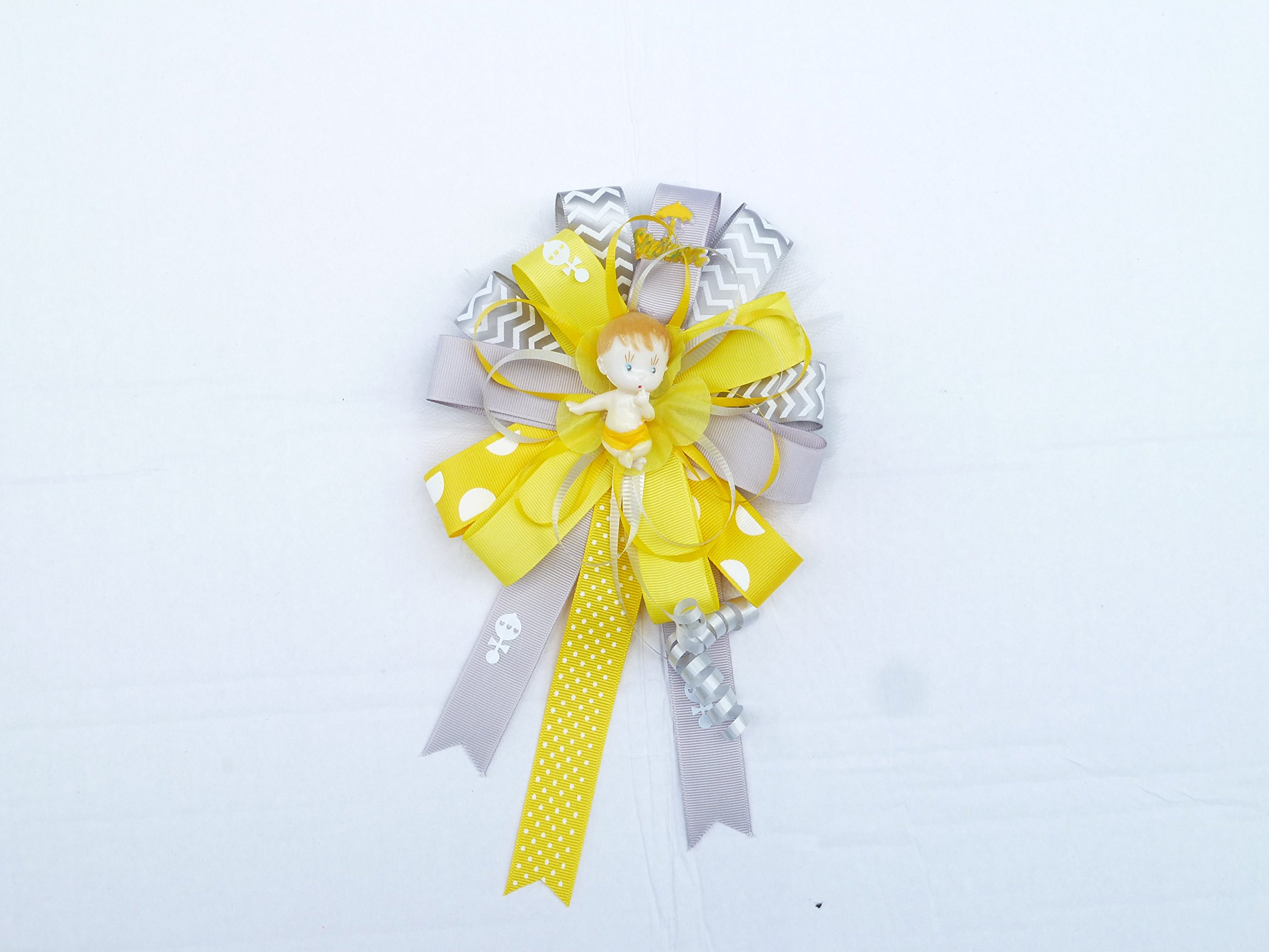 Yellow Gray Chevron Modern Mommy Baby Shower Theme Corsage for Mom (Mod Theme -Round Gray and Yellow)