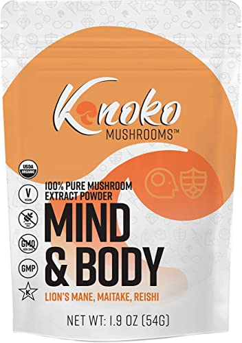 100 Pure Mushroom Extract Powder Blend Kinoko Mushrooms – Mind Body 54g Supplement 30 Servings Lion s Mane Maitake Reishi USDA Organic Kosher Lab Tested – Try in Coffee Tea Smoothies