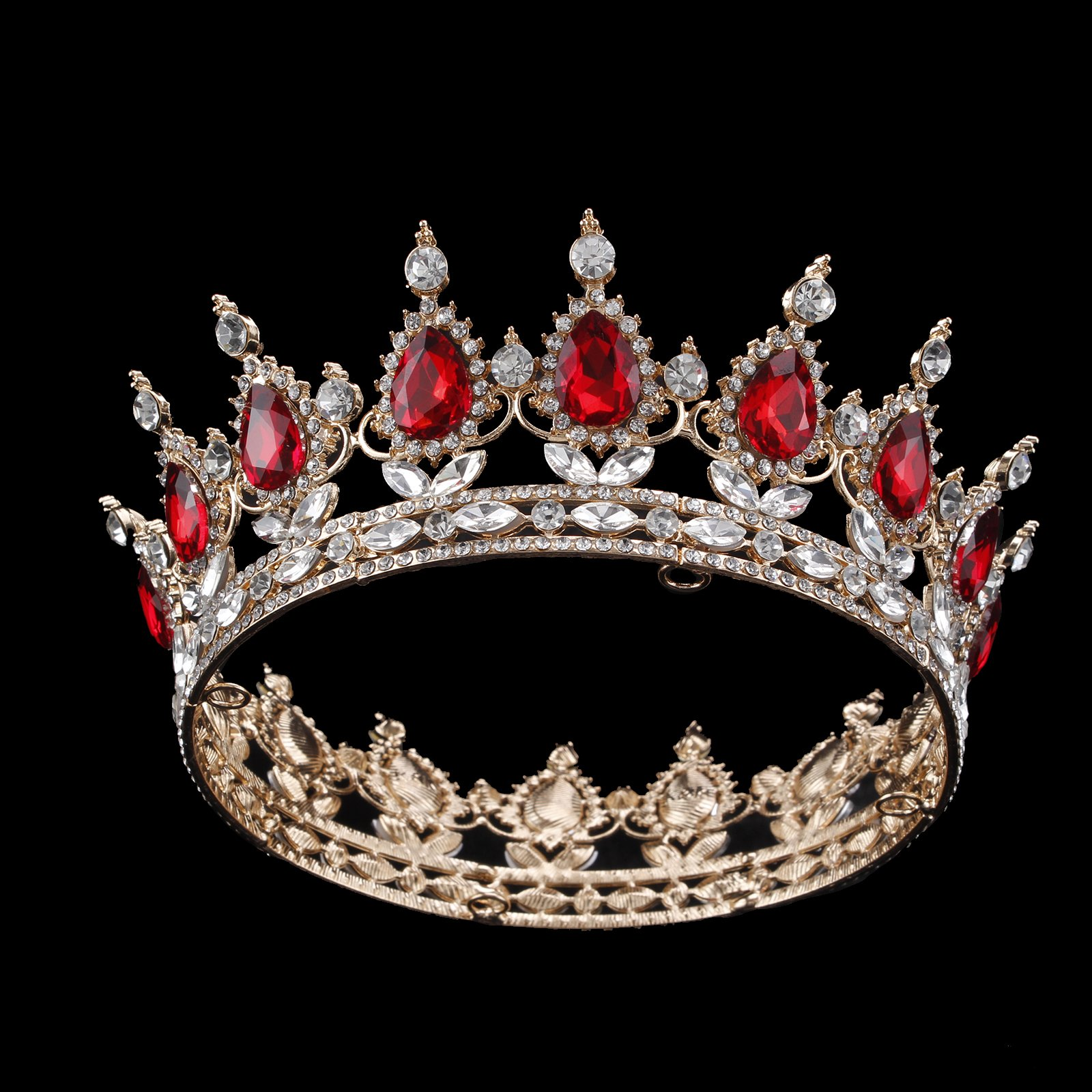 Ulike2 King/queen Crown Red Ruby Stone Sapphire Tiaras Gold/silver Plated Hair Jewelry (1#) by Hair Accessories