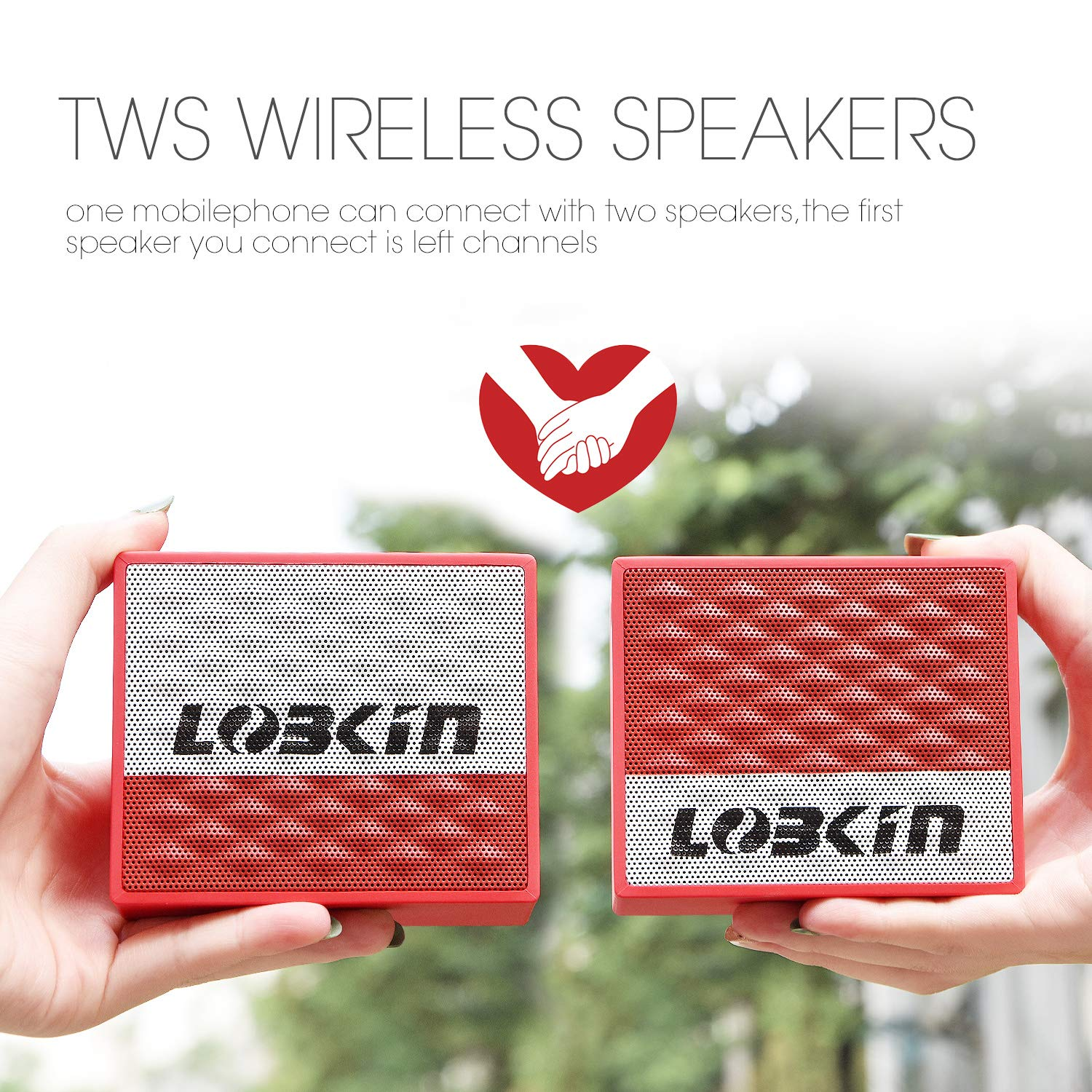 Lobkin TWS Bluetooth Speakers,Wireless Portable Bluetooth 4.2,IPX7 Waterproof Speaker,Crystal Clear Sound and Premium Bass For Sports,Travel,Shower,Beach,Party (RED)