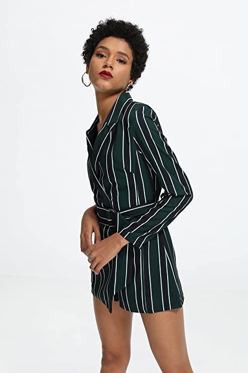 e1433d4e22b2 Amazon.com  ROMWE Women s Striped Print Colorblock Blazer Short Romper With  Belt Formal Jumpsuit  Clothing