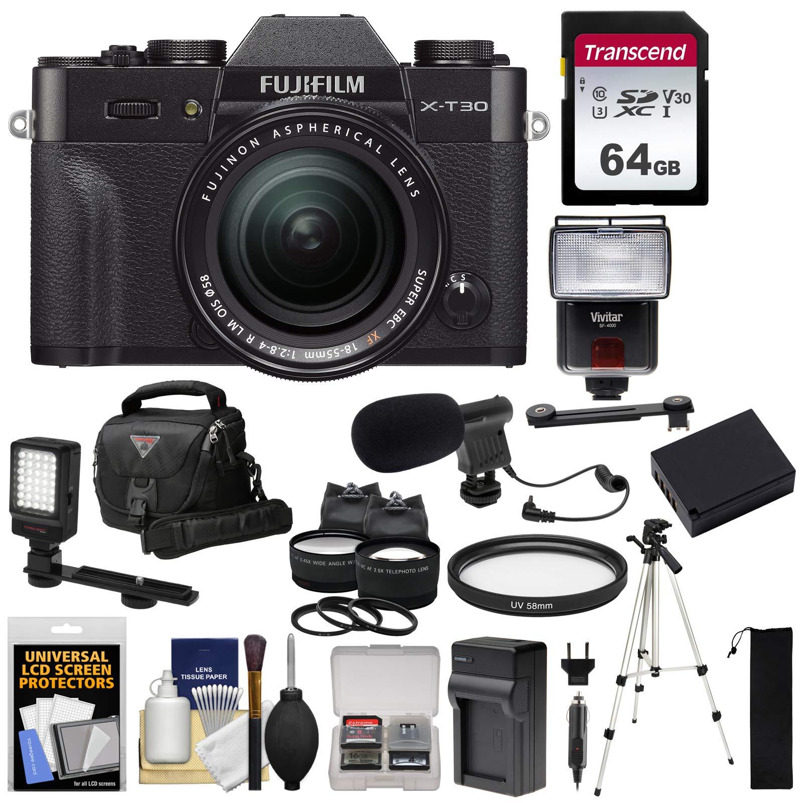 Fujifilm X-T30 Wi-Fi Digital Camera & 18-55mm XF Lens (Black) + 64GB Card + Battery + Charger + Mic + LED Light + Tripod + Flash + Case + 2 Lens Kit