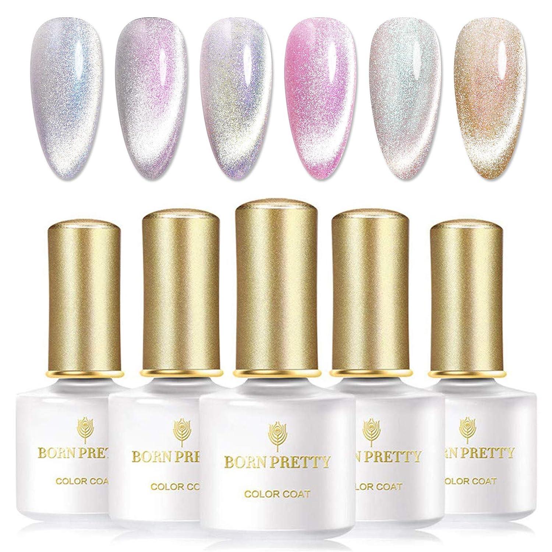 Amazon Com Born Pretty Esmalte De Gel Magnético Con Luz De Nieve Para Gato Brillante Gel Uv 0 2 Fl Oz 6 Colores Con Palo Magnético Beauty