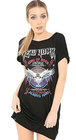 19e0e94181024 Friendz Trendz -Ladies New New York King of Rock Slogan Printed Tshirt  Dress (SM