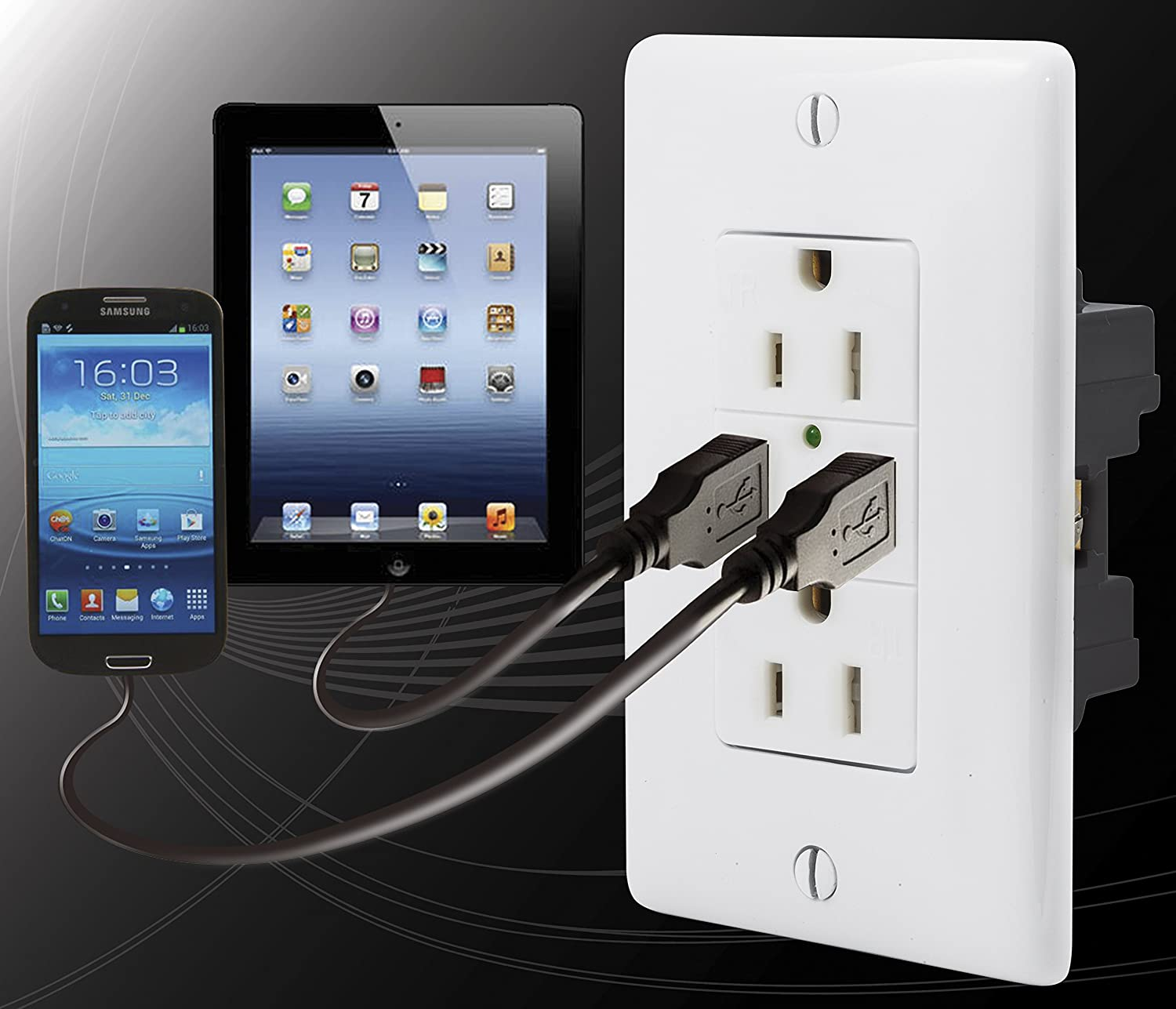Bryant Electric Usbb15w 38 Amp High Power Dual Usb Charger 15 Wiring Diagram Further Samsung Galaxy Tab 2 On 0 125 Volt Tamper Resistant Duplex Receptacle White Electrical Outlets