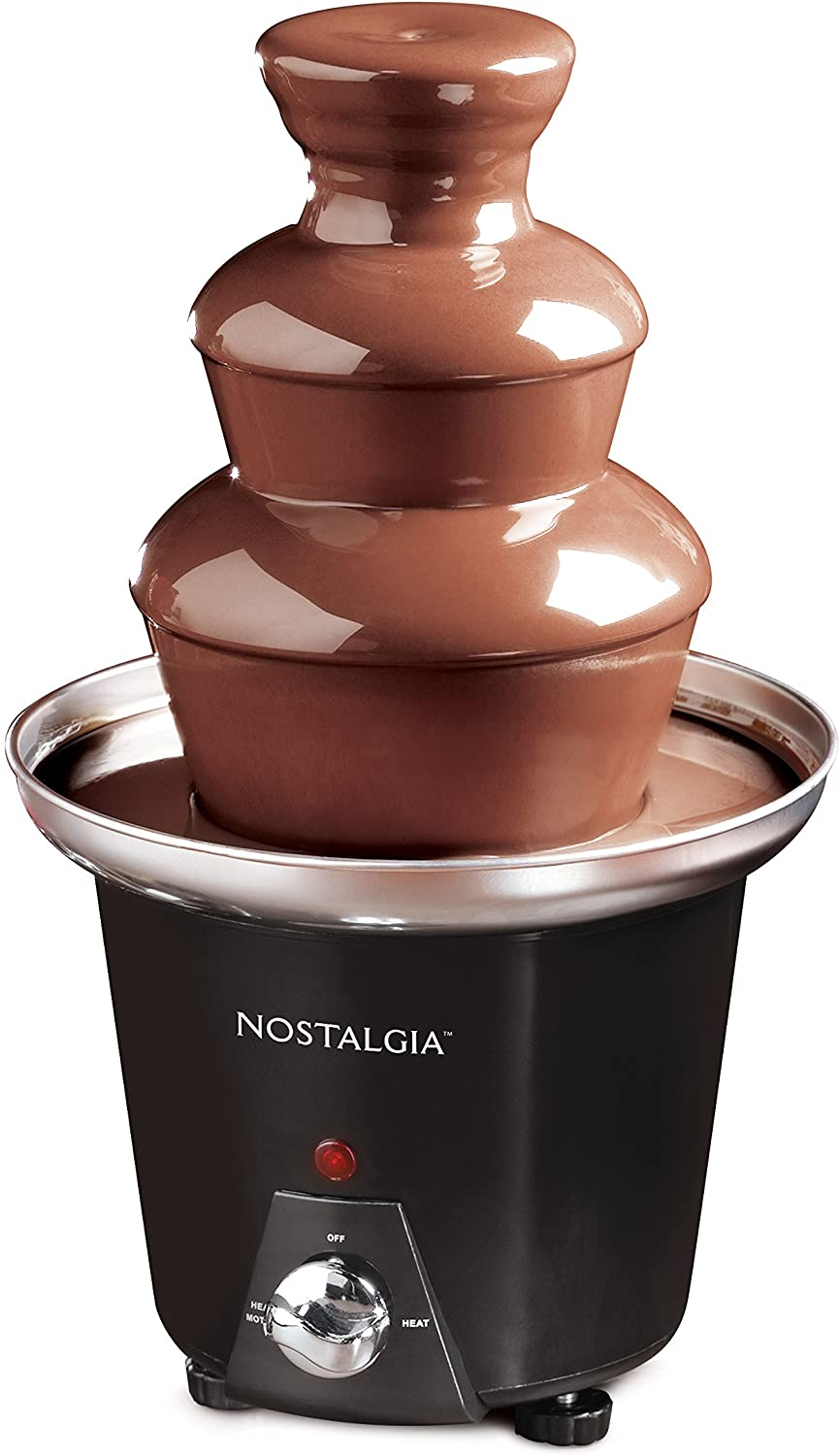 Nostalgia 24 Ounce Chocolate Fondue Fountain 1 5 Pound Capacity Easy To Assemble 3 Tiers Perfect For Nacho Cheese Bbq Sauce Ranch Liqueuers Black Kitchen Small Appliances Kitchen Dining