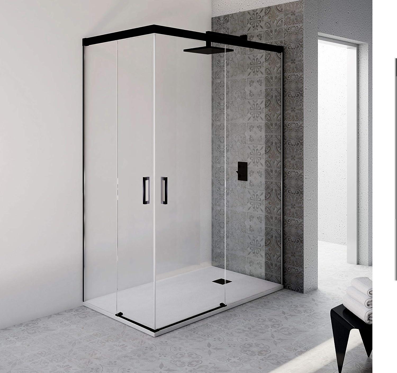 VAROBATH.Mampara de ducha rectangular con cristal transparente 6 mm y perfil acabado en negro. (70 a 90 x 70 a 88): Amazon.es: Bricolaje y herramientas