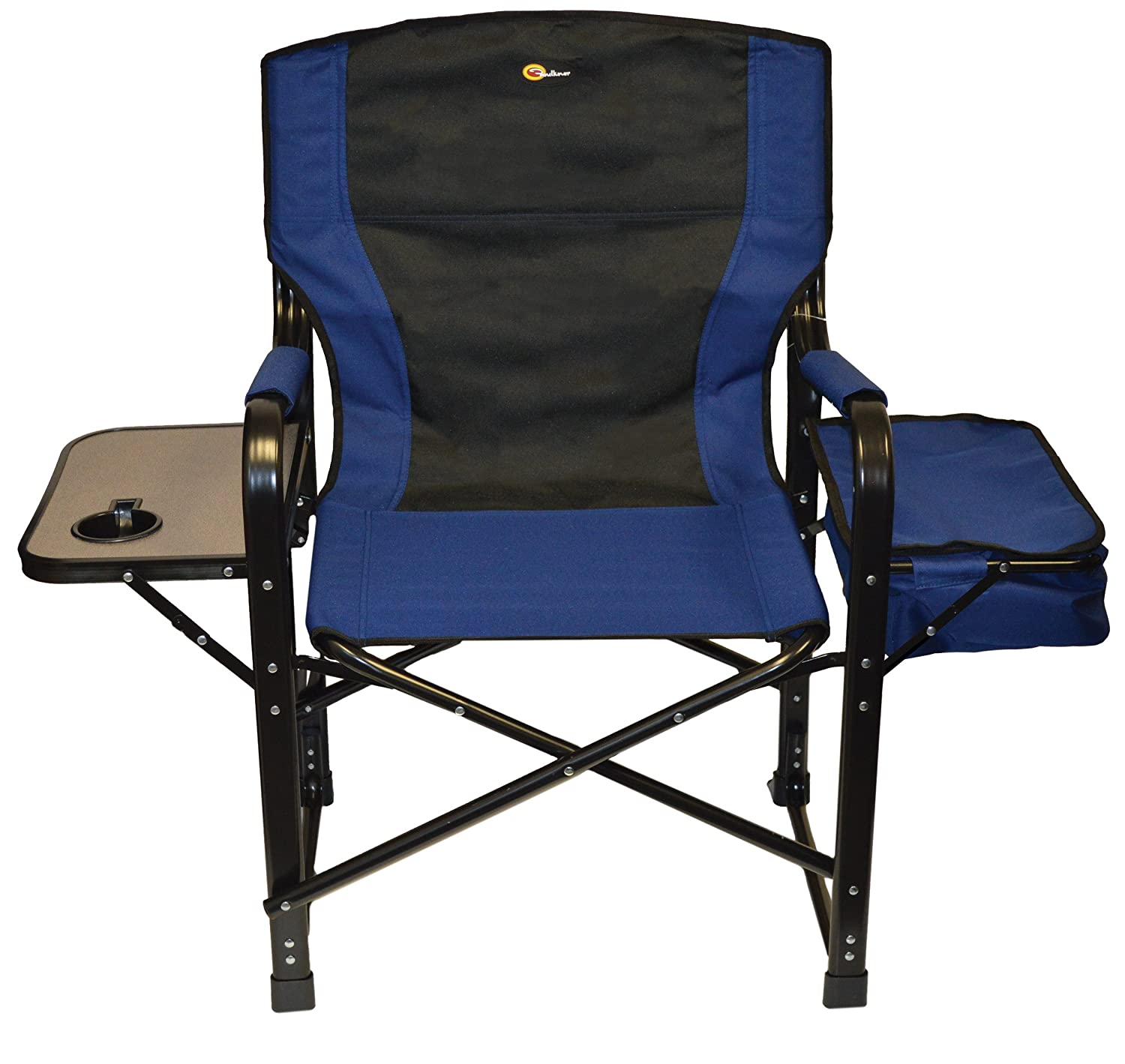 Faulkner 49581 El Capitan Folding Director Chair with Tray and Cooler Bag, Blue Black