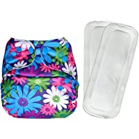 Bumberry Reusable Diaper Cover and 2 Wet Free Inserts (3-36 Months) (Purple Flowers)