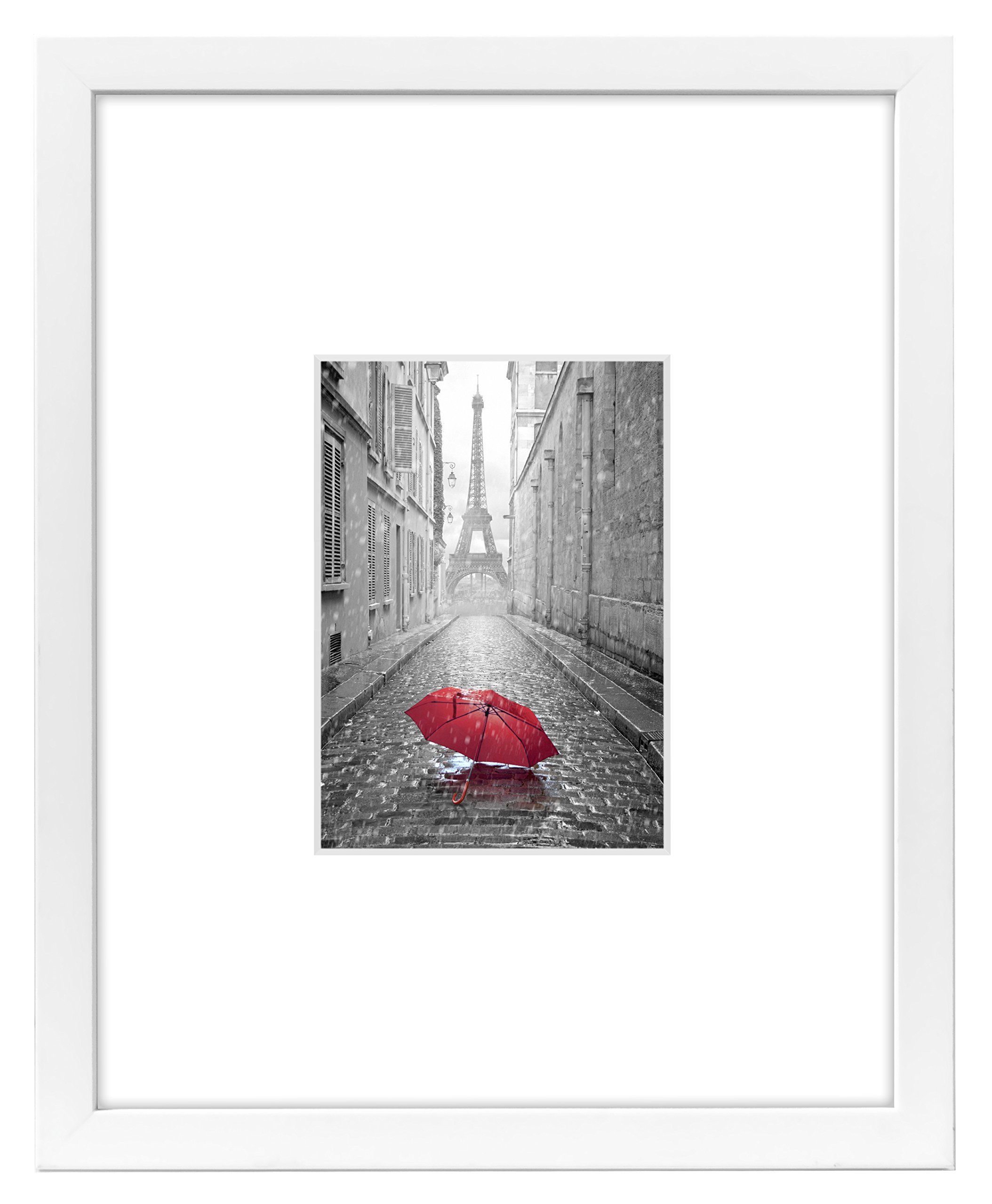 Americanflat 11x14 White Picture Frame - Display Pictures 5x7 with Mat - Display Pictures 11x14 Without Mat - White Mat - Glass Front by Americanflat