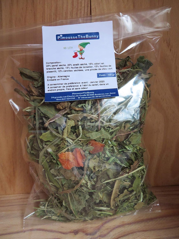 Mix LUTIN SACHET DE 100 GR - Nourriture Mé langes de feuilles et herbes pour lapins, cochons d'inde, chinchillas, cochons d' inde