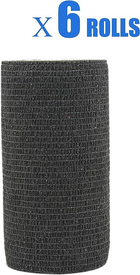 Risscly nero 10cm benda elastica coesiva adesivi salvapelle sport benda adesiva nastri per fasciature benda elastica adesiva 6 rotoli